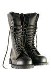svarta skor för armé Royaltyfria Bilder