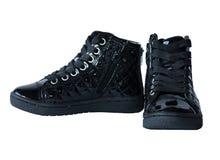 Svarta skor för högt mode Royaltyfria Foton