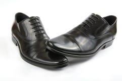 svarta skor för lädermän s Royaltyfri Fotografi