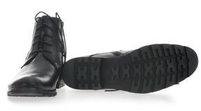 svarta skor för lädermän s Royaltyfria Bilder