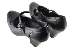 svarta skor för lady s Arkivbild