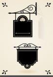 Svarta skyltar för tappning Royaltyfria Bilder
