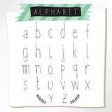 Svarta små bokstäver för kritablyertspennaalfabet Hand dragit skriftligt Royaltyfri Bild