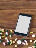 Svarta Smartphone, minnestavlor, online-handel Arkivfoto