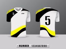 Svarta sportar för T-tröja för fotbollskjortadesign och gul färg Inspirerat av abstrakta begreppet Främre sikt och baksida vektor illustrationer