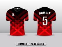 Svarta sportar för T-tröja för fotbollskjortadesign och röd färg Inspirerat av abstrakta begreppet stock illustrationer