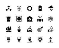 Svarta symboler för alternativ energi Sol- energi för förnybar för econaturgräsplan vind för vatten - sparande kraftverkfabrik cl stock illustrationer