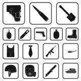 Svarta symboler för armé och för rustning i uppsättningsamlingen för design Vapen och utrustningvektorsymbolet lagerför rengöring Royaltyfria Bilder