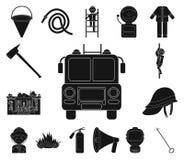 Svarta symboler för brandstation i uppsättningsamlingen för design Brandmän och rengöringsduk för materiel för utrustningvektorsy stock illustrationer