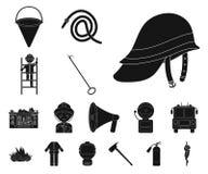 Svarta symboler för brandstation i uppsättningsamlingen för design Brandmän och rengöringsduk för materiel för utrustningvektorsy vektor illustrationer