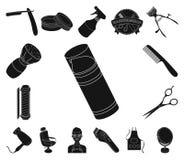 Svarta symboler för frisersalong och för utrustning i uppsättningsamlingen för design Rengöringsduk för materiel för frisyr- och  royaltyfri illustrationer