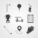Svarta symboler för golf royaltyfri illustrationer