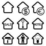 Svarta symboler för hus. Royaltyfria Bilder