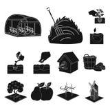 Svarta symboler för lantgård och för jordbruk i uppsättningsamlingen för design Arbeta i trädgården och för vektorsymbolet för vä Arkivfoton