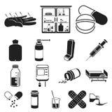Svarta symboler för medicin och för behandling i uppsättningsamlingen för design Rengöringsduk för materiel för medicin- och utru vektor illustrationer