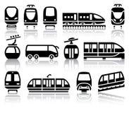 Svarta symboler för passagerare och för kollektivtrafik Royaltyfri Bild