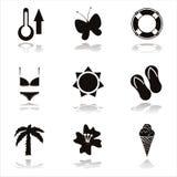 svarta symboler för strand royaltyfri illustrationer