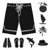 Svarta symboler för surfa och för ytterlighet i uppsättningsamlingen för design Rengöringsduk för materiel för surfare- och tillb Royaltyfri Foto