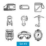 Svarta symboler för vaggar klättringutrustning Royaltyfri Foto