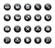 svarta symboler har kontakt med etikettserier Royaltyfria Foton