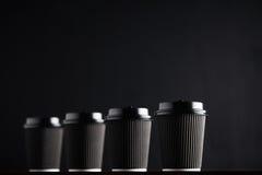 Svarta takeaway modeller för kaffekopp Royaltyfri Fotografi