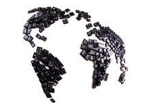 svarta tangentbordtangenter som världskarta Royaltyfri Foto