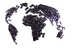 svarta tangentbordtangenter som världskarta Royaltyfri Bild