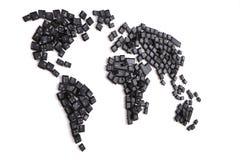 svarta tangentbordtangenter som världskarta Arkivfoto