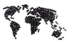 svarta tangentbordtangenter som världskarta Arkivfoton
