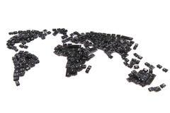 svarta tangentbordtangenter som världskarta Arkivbilder