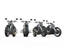 Svarta tappningmotorcyklar i rad Arkivbild