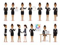 Svarta tecken för affärskvinna royaltyfri illustrationer