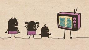 Svarta tecknad filmbarn som håller ögonen på TV royaltyfri fotografi