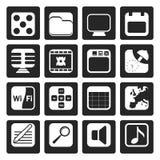 Svarta telefonkapacitets-, internet- och kontorssymboler