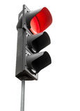Svarta trafikljus med den röda signalen som isoleras på vit Royaltyfri Bild