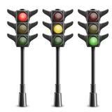 Svarta trafikljus på Pole Royaltyfri Fotografi