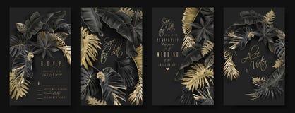 Svarta tropiska sidor och guld- gifta sig kort royaltyfri illustrationer