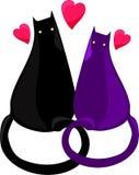 Svarta två och violetta kattvänner royaltyfri illustrationer