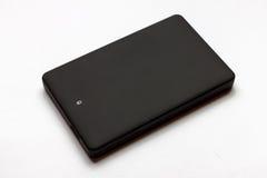 Svarta USB 3 0 yttre hårddiskfall 2 5 tum som isoleras på en vit Arkivfoto