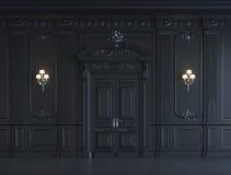 Svarta väggpaneler i klassisk stil med att försilvra framförande 3d Royaltyfria Bilder