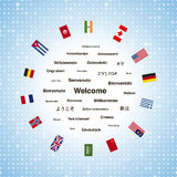 Svarta välkomnandeuttryck i olika språk av världen och landsflaggorna Royaltyfria Bilder