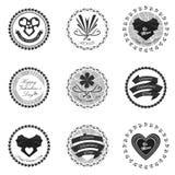 Svarta valentindagsymboler också vektor för coreldrawillustration Royaltyfri Foto