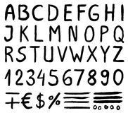 Svarta vattenfärgalfabetbokstäver med nummer, Royaltyfria Foton