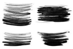 Svarta vattenfärgborsteslaglängder arkivfoto