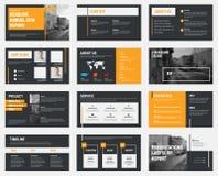Svarta vektorglidbanor med grå färger och orange designbeståndsdelar och ett p stock illustrationer