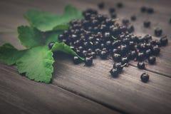 Svarta vinbär överhopar closeupen på lantlig wood bakgrund Arkivbilder
