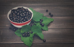 Svarta vinbär överhopar closeupen på lantlig wood bakgrund Royaltyfri Bild