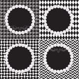 4 svarta vitmodeller för pärlemorfärg ramar med snirkeln Arkivbild