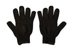 Svarta Woolen handskar Arkivbild