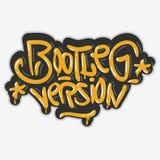 Svartbränna versionen Hip Hop gällde etikettsgrafitti påverkade etiketttecknet Logo Lettering för t-skjorta eller klistermärke på royaltyfri illustrationer
